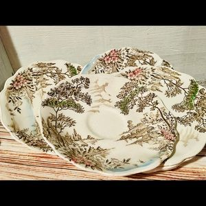 Vintage Meakin England Avondale Ceramic Saucers❤️